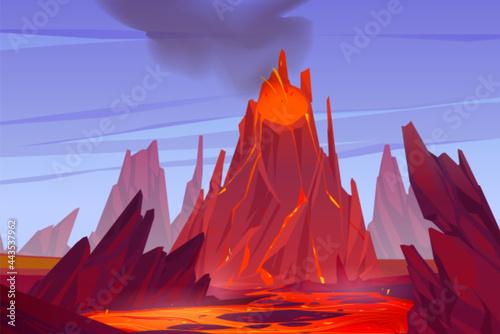 Tablou Canvas Volcanic eruption illustration
