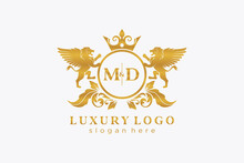 Initial MD Letter Lion Royal Luxury Logo Template In Vector Art For Restaurant, Royalty, Boutique, Cafe, Hotel, Heraldic, Jewelry, Fashion And Other Vector Illustration.