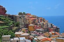 High Angle View Of Scenic Mediterranean Town - Manarola, Cinque Terre, Italy