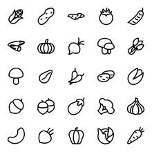 Vegetable Icon Set Vector Line For Website