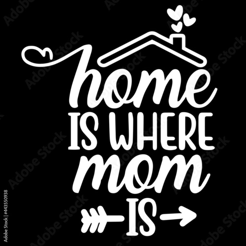 Photo home is where mom is on black background inspirational quotes,lettering design