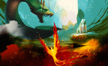 Digital Illustration Painting Design Style 3 Legendary Creature, Dragon, White Tiger, Phoenix.