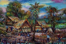 Oil Painting Thailand Countryside Mountain Northeast
