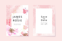 Minimal Pink Tropical Wedding Invitation, Floral Invite Thank You, Rsvp Modern Card Design In  Watercolor Flower And Leaf With Golden Line Decorative Vector Elegant Rustic Template