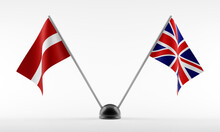 Stand With Two National Flags. Flags Of Latvia And Great Britain. Isolated On A White Background. 3d Rendering