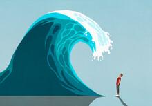 Man Facing Huge Ocean Tidal Wave