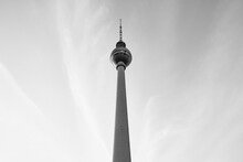 Berlin Television Tower Against Cloudy Sky, Germany