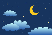 Night Sky With Stars And Moon. Paper Art Style. Dreamy Background With Moon Stars And Clouds, Abstract Fantasy Background. Half Moon, Stars And Clouds On The Dark Night Sky Background.