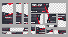 Set Of Business Web Banner Templates With Different Standard Size. Abstract Corporate Horizontal, Vertical, Square Ad Banner With Place For Images. Vector EPS