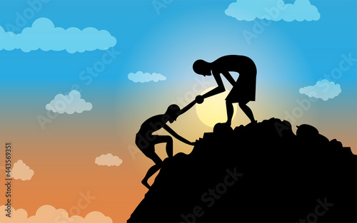 Canvas Vector graphic illustration of two people climbing a mountain, with silhouette concept
