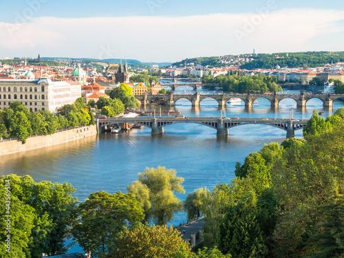 view over bridges over vltava river, prague, czech republic Fototapeta