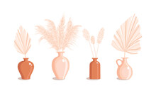 Vases With Dry Grass And Palm Leaves. Dried Floral Ornament Elements In Boho Style. New Trendy Home Decor. Vector Flat Illustration Isolated On White Background