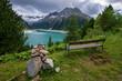 Blick über den Schlegeis Speicher Stausee in Tirol, Österreich