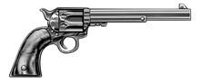 Western Cowboy Gun Pistol Revolver Woodcut Style
