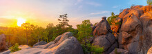 Colorful Sunset Landscape In Carpathian Mountains, Huge Stone Rocks Of Dovbush, Panoramic View
