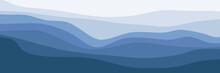 Minimalist Wave Pattern Landscape Vector Design Template