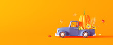 Blue Car Carrying Big Pumpkin With Sunflowers And Corn. Autumn Is Coming Concept With Orange Background 3D Render 3D Illustration