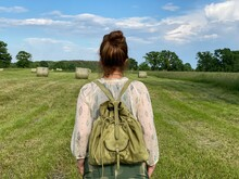 Woman Traveler On The Grain Field, Poland