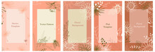 Set Of Templates For Social Network Stories. Vertical Background With Space For Text. Texture In Delicate Beige Tone, Spring Theme - Flowers, Cicadas, Abstract Forms. Summer Floral Story. Vector Frame