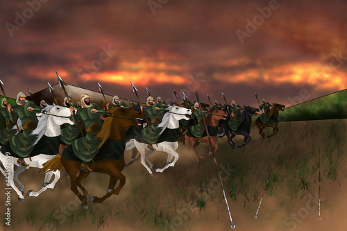 Fotografie, Obraz spear cavalry attacking the enemy