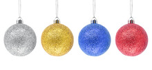 Hanging Silver, Golden, Blue, Red Glitter Christmas Baubles Isolated A On White Background.