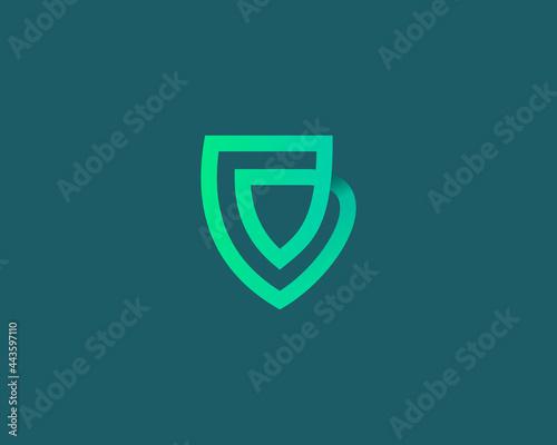 Fotografie, Obraz Linear shield loop vector icon logo design template