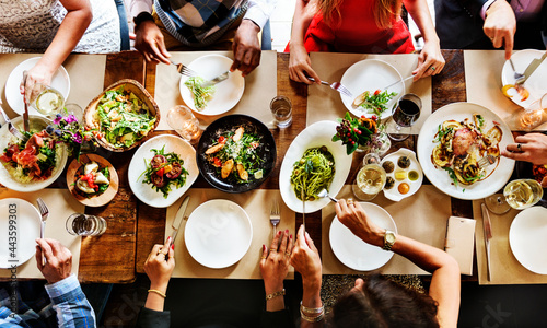 Fotografía Aerial view of a table full of food