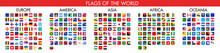 Rounded Square Flags Of The World. Vector Icons. Every National Flag Of Each World Country Organized By Continent In Alphabetical Order
