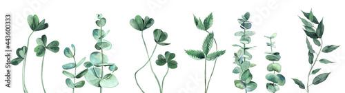 Tela Watercolor leaves set in cool shades