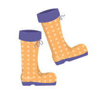 Yellow Autumn Rubber Boots For Walking In The Rain. Boots With A Polka Dot Print. Clipart On A White Background For Autumn Design.