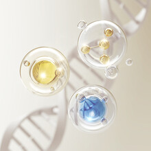 Collagen Serum Bubble On Dna Background, Cosmetic Oil Liquid Advertising 3d Rendering.