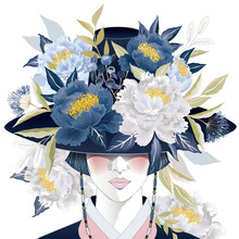 """Vector Illustration Of A Beautiful Girl Wearing A """"Gat"""", Korean Traditional Hat Decorating With Flowers. Design For Banner, Poster, Card, Invitation And Scrapbook"""