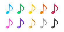 音符, 音, 音楽, ミュージックのベクターカラフルアイコンイラスト素材セット