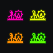 Amusement Park Four Color Glowing Neon Vector Icon