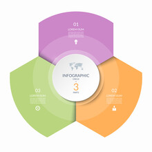 Infographic Circle, Process Chart, Cycle Diagram With 3 Steps, Parts. Three-step Vector Template For Business Infographics, Report, Presentation, Brochure.