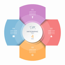 Infographic Circle, Process Chart, Cycle Diagram With 4 Steps, Parts. Four-step Vector Template For Business Infographics, Report, Presentation, Brochure.