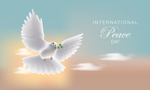 International Day Of Peace. Flying Realistic Dove Of Peace Flies Against The Blue Sky. Realistic Vector