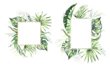 Watercolor Summer Arrangement With Hand Painted Tropical Dried Palm Leaves, Branches Of Green Leaves. Romantic Floral Bouquet Perfect For Wedding Greeting Cards, Invitation And More. High Quality