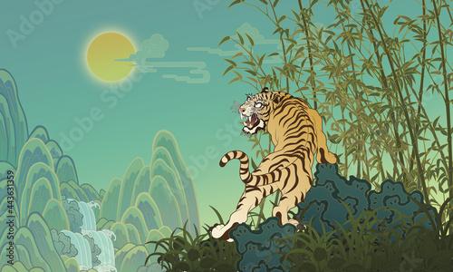 Canvastavla Oriental painting Bamboo tiger Illustration 동양화 일러스트