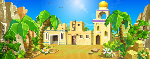 Arabian town among the sands and palm trees. An old Muslim town. Vector illustration. Big desert with palm trees.