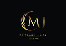 Alphabet Letters MJ Monogram Logo, Gold Color Elegant Classical