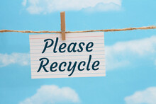 Please Recycle Message On A White Index Card