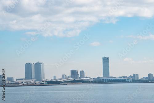 海から見た幕張新都心 Fotobehang