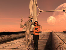 Illustration Of A Grey Alien With His Arm Around A Human Woman Wearing Sunglasses On A Walkway Of An Alien World.