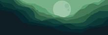 Moonrise In Mountain Landscape Vector Flat Design Illustration Good For Wallpaper, Design Background, Background Template, Backdrop Design And Tourism Design Template
