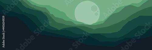 Fototapeta moonrise in mountain landscape vector flat design illustration good for wallpape