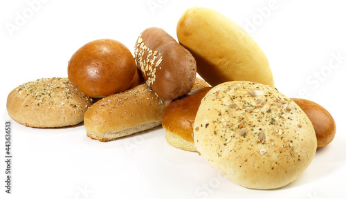 Fotografia Various Bread Rolls for Hamburger and Hot Dogs isolated on white Background