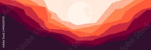 Fotografie, Tablou moonrise in mountain landscape vector flat design illustration good for wallpape