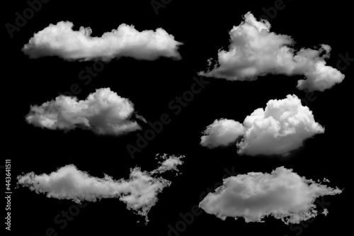 White clouds set isolated on black background