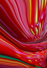 Abstract Bright Fluid Red Background With Yellow Waves. Art Trippy Digital Backdrop. Curved Shapes Illustration. Vibrant Vertical Plastic Strawberry Texture. Ink Water. Modern Design For Banner, Flyer